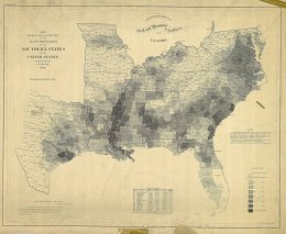 "This map, published by the US Coast Guard, shows the percentage of slaves in the population in each county of the slave-holding states in 1860. The highest percentages lie along the Mississippi River, in the ""Black Belt"" of Alabama, and coastal South Carolina, all of which were centers of agricultural production (cotton and rice) in the United States. E. Hergesheimer (cartographer), Th. Leonhardt (engraver), Map Showing the Distribution of the Slave Population of the Southern States of the United States Compiled from the Census of 1860, c. 1861. Wikimedia,"